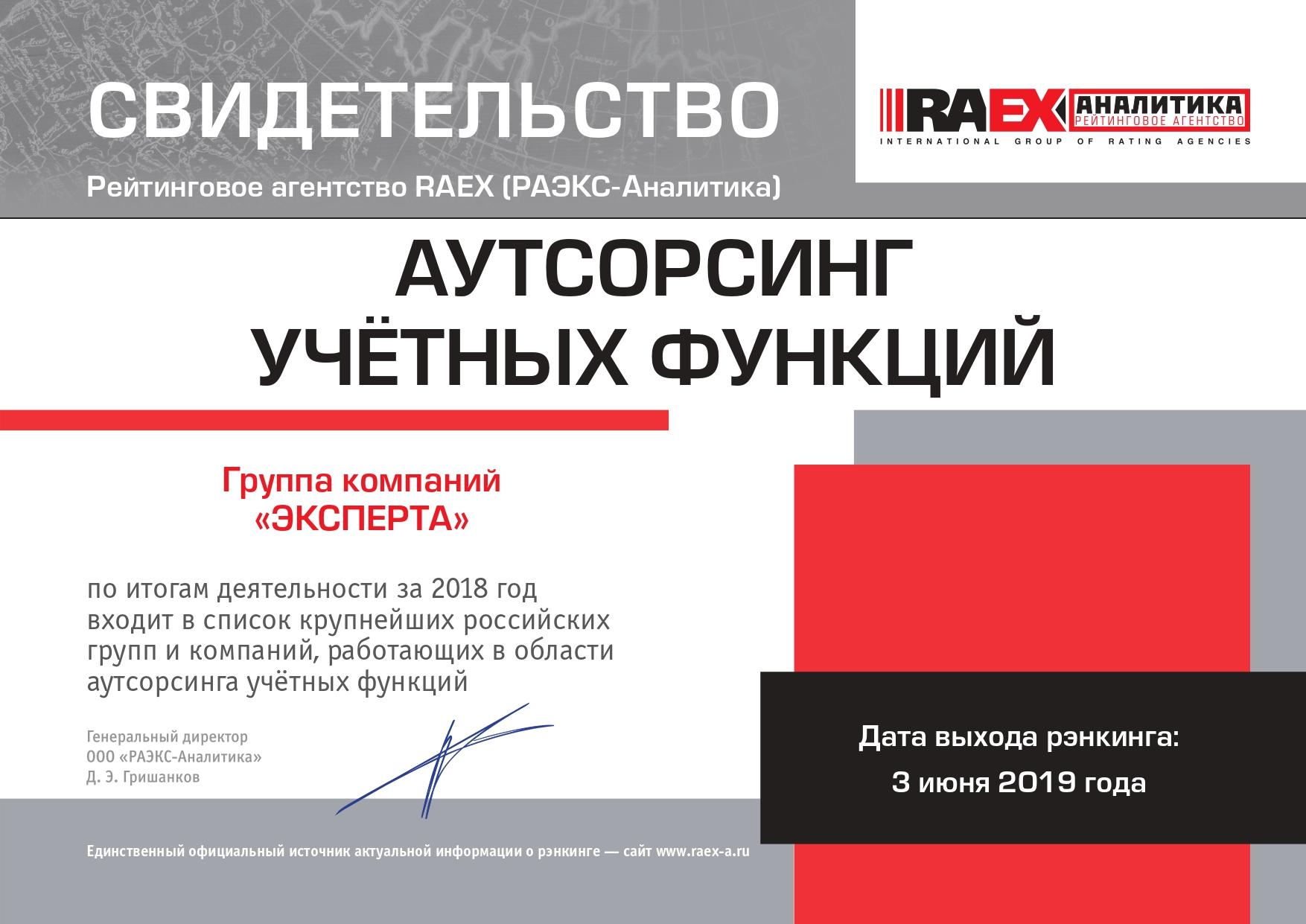 Свидетельство от рейтингового агентства «РАЭКС-Аналитика» от 03.06.2019